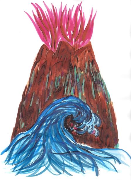 Volcano and sea buildwash top